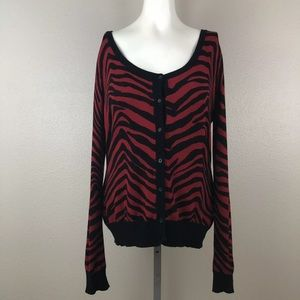 By Design Tiger Stripe Thin Button Down Cardigan